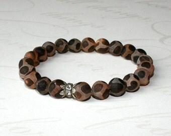 Tibetan Dzi bead bracelet, Brown turtle agate beads, Brown stone bracelet, Brown stacking bracelet,