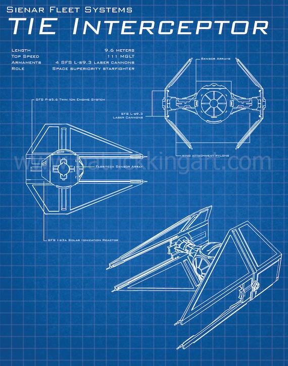 wars tie interceptor schematic print tie fighter
