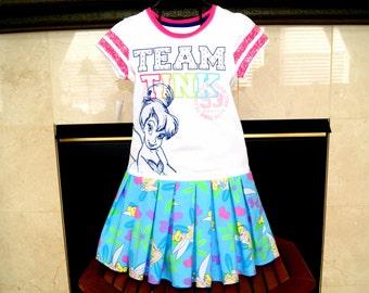 CLEARANCE SALE TINKERBELL Dress, Girls Dress, Team Tink, Tinkerbell T-shirt Dress - 3 Left 12M 2T