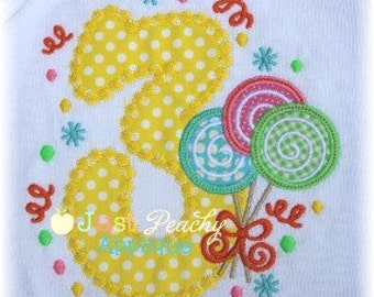 Lollipop Trio Number 3 Machine Embroidery Applique Design Buy 2 for 4! Use Coupon Code 50OFF