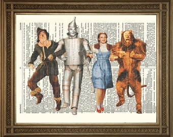 """WIZARD OF OZ Dictinary Print: Scarecrow, Tin Man, Dorothy and Lion - Hollywood Vintage Book Page Art (8 x 10"""")"""