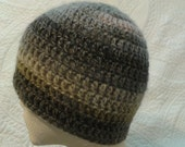 Woodsy beanie, brown crochet hat, colorful hat, striped beanie, unisex hat, woodsy hat, striped hat, heathered hat
