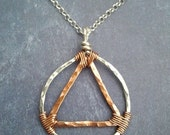 Sterling Silver and Copper Unity Symbol Recovery Sobriety Pendant - MADE TO ORDER