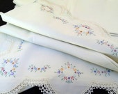 Lovely Vintage Hand-Embroidered Sheet and Two Pillowcases With Decorative Crochet Edge