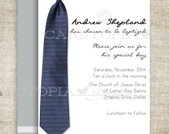 BAPTISM INVITATION LDS Tie Boy Baptism Priesthood Preview Invitation Picture Latter-Day Saint Mormon diy Printable Personalized - 196656039