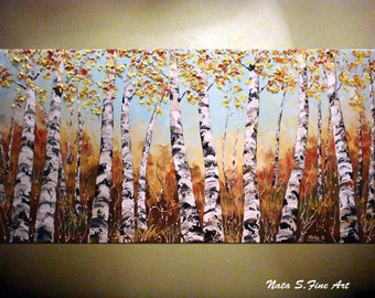 """Landscape ORIGINAL Painting Abstract Textured Contemporary Art Palette Knife Fall Birch Forest Tree Art Large Artwork  24"""" x 48"""" by Nata S."""