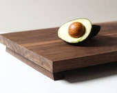 Footed Cutting Board in Walnut- Large Wooden Serving Tray, Walnut Cutting Board, Footed Plate, Kitchen Decor, Wood Plate