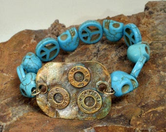 Bullet Jewelry - War and Peace Bracelet Magnesite Beads and Brass Casings