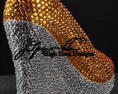 Custom Gold with chain custom wedge peep toe high heel wedge