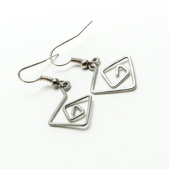 items similar to silver wire earrings  geometric dangles