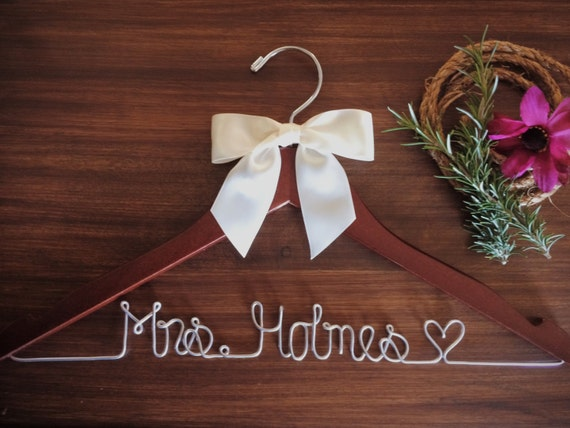 Wedding hanger bridal hanger dress hanger wire for Personalized wire wedding dress hanger