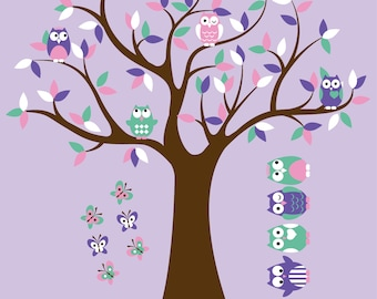 Kids Tree with 4 owls butterflies and set of 4 FREE owls nursery vinyl wall decal