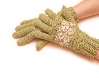 Green knitted gloves - women gloves, knit gloves, mitten gloves, black gloves, fingered gloves, winter gloves, warm glove, white glove