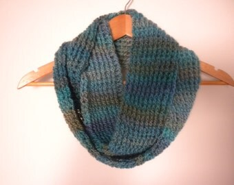 Crochet Scarf Multi Blue Green Color  Infinity Scarf  Crochet Chunky Thick Neckwarmer