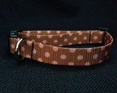 Brown with Pink Polka Dots Polyester Dog Collar (size medium)