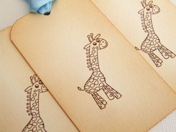 New Baby Boy Gift Tag : Giraffe baby shower gift tags set of new boy blue