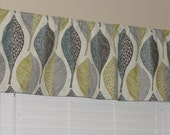"""Robert Allen Woodblock Designer Valance 50"""" wide x 16"""" long Bold Leaves Grey Teal Citrine Ivory Lined with Cotton Muslin Floral"""