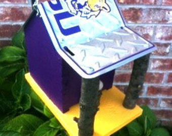 LSU Tigers Rustic License Plate Birdhouse