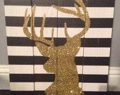 Rustic Glitter Deer Art