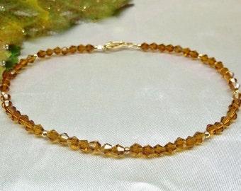 Solid 14kt Gold Anklet Crystal Topaz Anklet Topaz Crystal Anklet Dark Brown Anklet Gift For Her Ankle Bracelet BuyAny3+Get1 Free