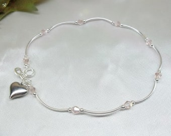 Pink Anklet Pink Crystal Ankle Bracelet Heart Anklet Pink Crystal Anklet Summer Jewelry 925 Sterling Silver or Plate BuyAny3+Get1Free
