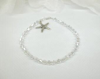 Starfish Bracelet Clear AB Crystal Bracelet Strand 925 Sterling Silver Star Fish Bracelet BuyAny3+Get1 Free