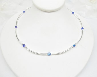 Sterling Silver Blue Sapphire Necklace Sapphire Blue Crystal Necklace Silver Sterling Necklace Sterling Silver Necklace BuyAny3+1 Free