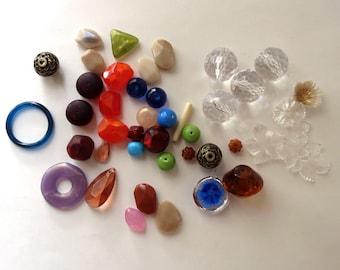 Large Beads, Mixed Lot,  Destash Jewelry Supplies, Varitey of Beads