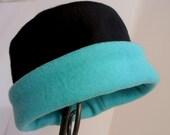 Black and Teal Hat, Roll Brim Hat, Soft and Warm Hat, Black and Aqua Hat, Fleece Hat