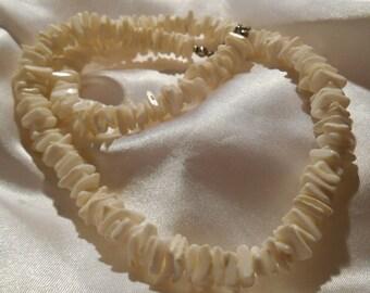 White Puka Shell Tropical Choker Necklace