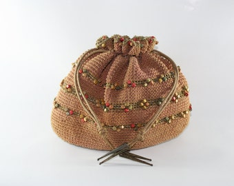 Drawstring Purse, Pouch, Beaded Vintage India Bag