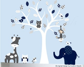 Grey and Navy Childrens wall decal white tree decal sticker - 0176