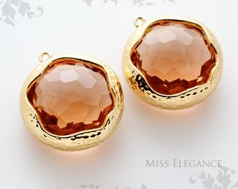 SALE 2pcs Champagne Round Framed Faceted Glass Stone Pendants, Gold Plated Brass Unique Jewelry Findings  //  20mm x 20mm // GSL-0028-BG