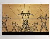 "Electric Power Lines Black Silhouette Landscape on Natural Wood Panels - 23""x35"""