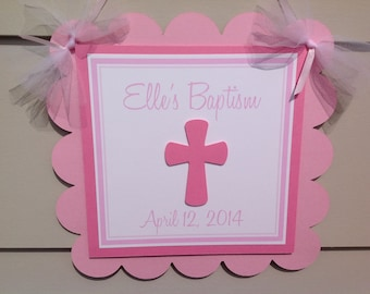 Baptism Door Sign Welcome Sign Pinks and White