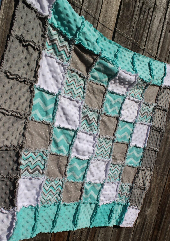 Gray Amp Aqua Chevron Rag Quilt Blanket Perfect Baby By