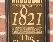 Antiqued Finish The State of Missouri Customizable Vintage Style Wall Plaque / Sign Decorative & Custom Color