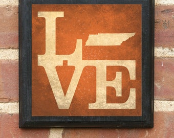 Tennessee Tn Love Wall Art Sign Plaque Gift Present Personalized Color Custom Home Decor Memphis Nashville