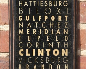 Mississippi MS Cities Transit Subway Scroll Wall Art Sign Plaque Gift Present Jackson Tupelo Gulfport Hattiesburg Antiqued