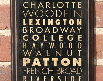 Asheville NC Downtown Streets Transit Subway Scroll Antique vintage style home decor gift present NC North Carolina Wall Plaque Sign Art