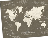 "Custom World Map, Custom Map Gift, Personalized Map, Wedding Guest Book Alternative Map, Outlined World Map, Sizes 5""x7"" up to 44""x70"""