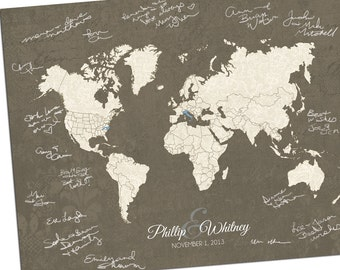 Custom world map etsy custom world map custom map gift personalized map wedding guest book alternative map gumiabroncs Choice Image