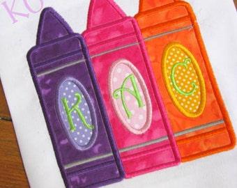 Three Crayons Machine Applique Embroidery Design - 5x7 & 6x8