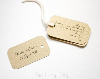 On This Day Gold Personalized Gift Tags - Wedding Favor Tags - Thank you tags - Wedding Gift Tags - Set of 40 (Item code: J409)