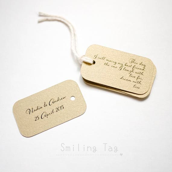 Personalised Wedding Gift Tags : On This Day Gold Personalized Gift Tags Wedding Favor Tags