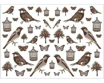 Vintage Style Bird & Butterfly Print Decoupage Paper - Craft Decorate - Pack 10 Sheets - Monochrome