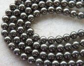 10mm A Grade Pyrite Round Polished Gemstone Beads, Half Strand (IND1C495)