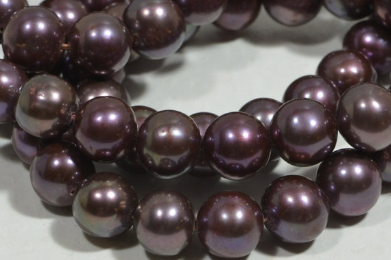 Freshwater Pearls Round 8 mm Dark Cherry Big Pearl Jewelry Craft