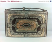 CLEARANCE SALE, A Rare Antique French leather Handbag, Brown, Gold Painted detailing. fine.. The Old Junk Trunk.