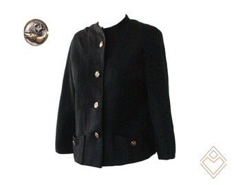 1960s vintage wool knit Kimberly blazer //  black cropped wool jacket with moose head buttons // size XS - small